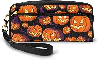 Ahoocustom Halloween Pumpkins Party Geek Leather Makeup Pouch Bag, Elegant Toiletry Cosmetic Bags Organizer Case With Gold Zipper Pencil Case For Women Men Girls Boys