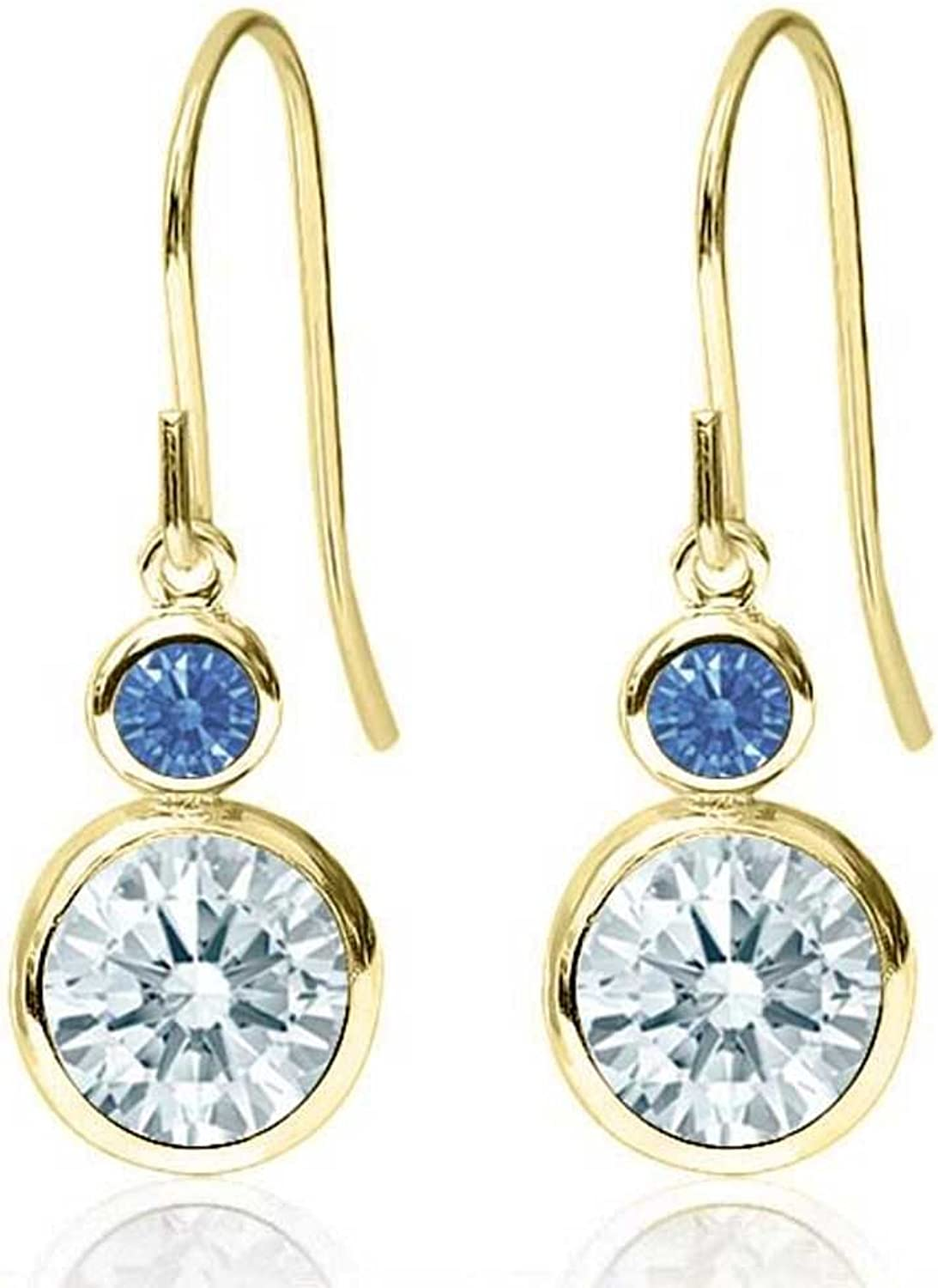 Carlo white White 14K Yellow gold Earrings Made With Swarovski Zirconia