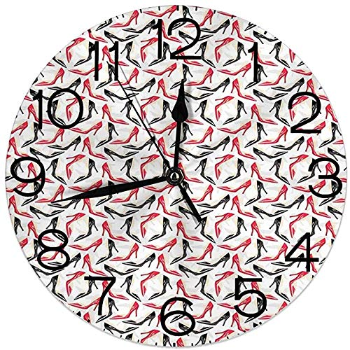 ALLdelete# Wall Clock Reloj de Pared Redondo Decoración para el hogar, Rojo...