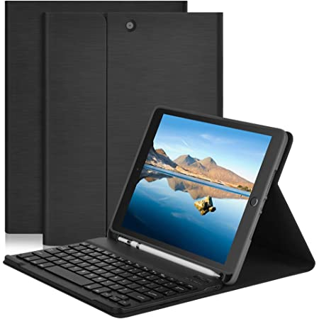 iPad Air 3rd 10.5 iPad 7th Generation Case with Keyboard-iPad Cover with Apple Pencil Holder-Tablet Folio iPad Keyboard Case for iPad 10.2-Inch 2019 iPad Pro 10.5 2017 BT//Wireless Black
