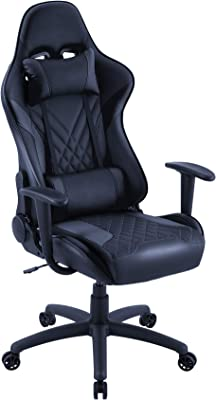 Eureka Ergonomic Video Gaming Chair Office Chair High Back Leather Chair Racing Executive Ergonomic Adjustable Swivel Chair with Headrest and Lumbar Support for Teens and Adult, Black