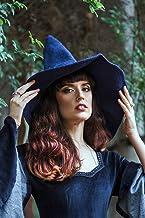 Sombrero de bruja azul de lana wicca halloween disfraz cosplay