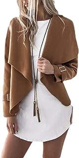 Macondoo Women Solid Coat Lapel Irregular Open Front Cardigan Jacket