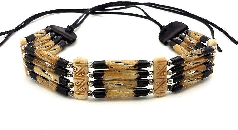 Local Bead Shop Handmade 4 Line Brown Buffalo Bone Hairpipe Traditional Tribal Choker Necklace