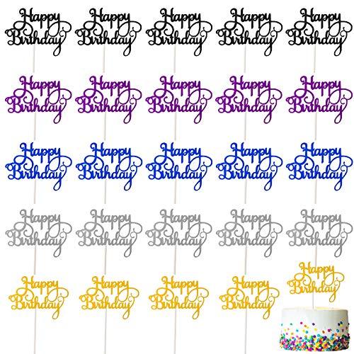 Ledoo 30 Piezas Cake Topper Happy Birthday Cake Decorations Tarjeta de Brillo Personalizada Tarjeta de Pastel de Fiesta de cumpleaños Decoración de Pastel de Brillo Multicolor