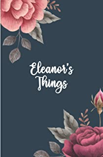 Eleanor's Things: Personalised Journal for Women and Girls, A5 Diary Lined for Girls, Cute Flowers Light Pink cover with P...