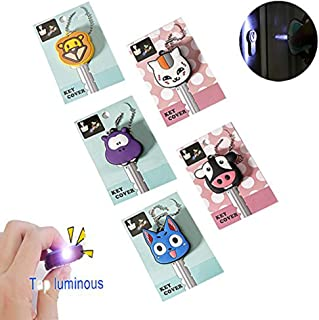 Comidox 5 Pcs LED Creative Keychain Shell PVC Silicone Soft Key Ring Cap Cover Case Cartoon Animal Styling White Cat &Blue...
