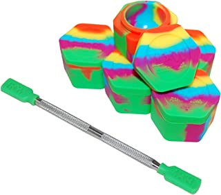 5 Rainbow Honeycomb Nonstick Platinum Cured Kitchen Storage Silicone Jar Container with 4