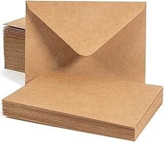 "Sodaxx 100 Packs A7 Kraft Invitation Card Envelopes - Heavyweight Gummed Seal Contour Flap - 5-1/4"" x 7-1/4"""