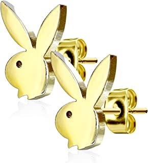 Playboy 316L 20G Surgical Steel Bunny Earring Studs Plated for Women 0.8 MM - Playboy License (Gold)