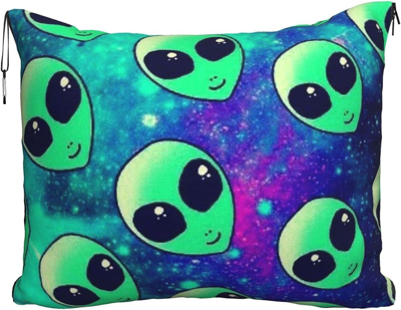 Mescchskgreen Alien Print Max 74% OFF Travel Pillow Combo Blanket Pil Wholesale