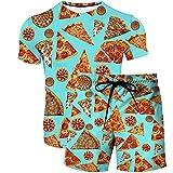 T-Shirt Shorts Set 2 Pezzi - Modello Di Pizza Gourmet Stampa 3D Abbigliamento Estivo T-Shirt A Maniche Corte Pantaloncini Completo Arbitrary Match Chic Beach Set A Due Pezzi Set Da Uomo Casual, Pa