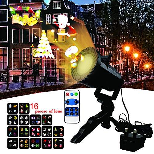 LED Lámpara de Proyección de Navidad,luces de proyector con Diapositivas Iluminación Impermeable Dinámica Proyector Led para Navidad, Cumpleaños, Halloween, Decoración de habitación, Boda