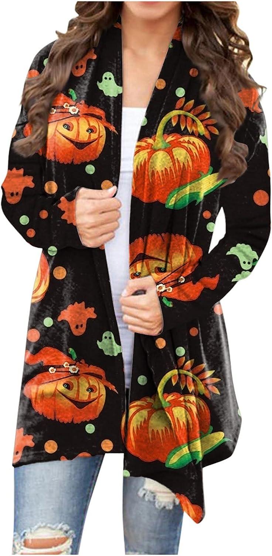 Women's Funny Print Cardigan Sweatshirt Pullover Halloween Lightweight Casual Open Front Long Sleeves Trench Jacket