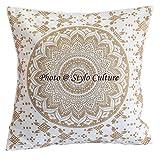 Stylo Culture Cojines Indios para Camas Cojín Estampado Floral de Oro 40 X 40 Cojines Decorativos de algodón Cuadrado Tradicional de 40x40 cm Mandala Ombre (1 Pieza)