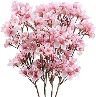 Nahuaa 4 pcs Flor de Cerezo Artificial Flores de Seda Sakura Ramas Falsos Arreglos Florales para Decoración de Centros de Mesa Habitaciones Boda