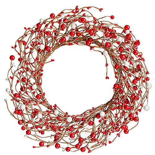 YFZYMM 18 Inch Christmas Wreath Berry Wreath Winter Artificial Twig Wreath with Red Berry Stems for Front Door Wall Window Fireplace Home Deocration