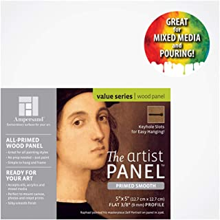 Ampersand Artist Panel Primed Smooth Surface for Painting, Pouring and Mixed-Media, 3/8 Inch Depth, 5x5 Inch (PWP9M0505)