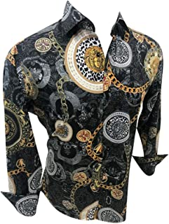 Premiere Mens Designer Fashion Silky Dress Shirt Long Sleeve Casual Shirt Woven Button Up Long Sleeve Button Down Shirt
