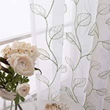 Embroidered Sheer Curtains for Living Room Botanical Tile Sage Window Curtains Leaf Geometric Semi-Sheer Drapes for Bedroom Pole Top 2 Panels 63 inch