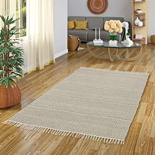 Pergamon Baumwolle Natur Kelim Teppich Sandy Grün Stripes in 7 Größen