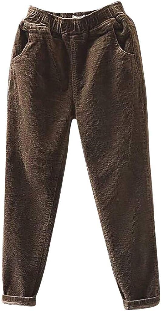VonVonCo Fashion Corduroy Pants for Women Plus Size Loose Elastic Waist Pocket Baggy Pants Long Pants