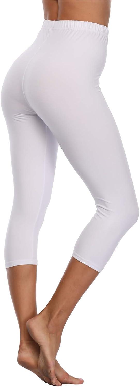 VOGUEMAX Women's Capri Leggings High Waist Soft and Comfy Cropped Leggings Tights 3/4 Length Leggings