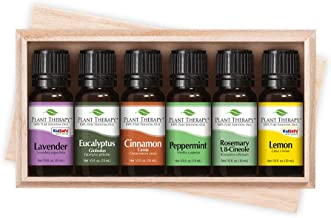 Plant Therapy Essentials Gift Set - Lavender, Peppermint, Eucalyptus, Lemon, Rosemary, Cinnamon, in A Wooden Box 100% Pure, Undiluted, Natural Aromatherapy, Therapeutic Grade 10 mL (1/3 oz)