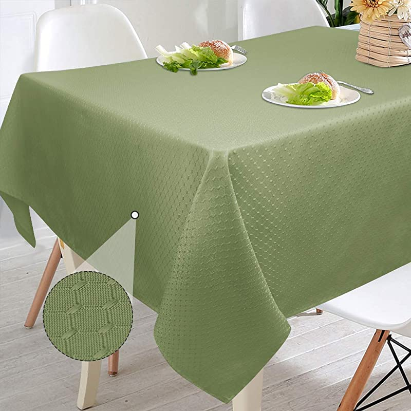 VCVCOO Heavy Duty Weave Oblong Table Cover Polyester Waffle Sage Green Tablecloth Stain Resistant Spill Proof Waterproof For Parties Wedding Banquet Festival 60 By 84 Inch