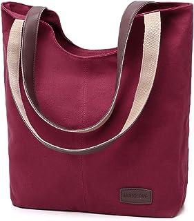 MORGLOVE Damen Vintage Canvas Umhängetaschen Freizeit Handtasche Groß Schultertasche (Rot)