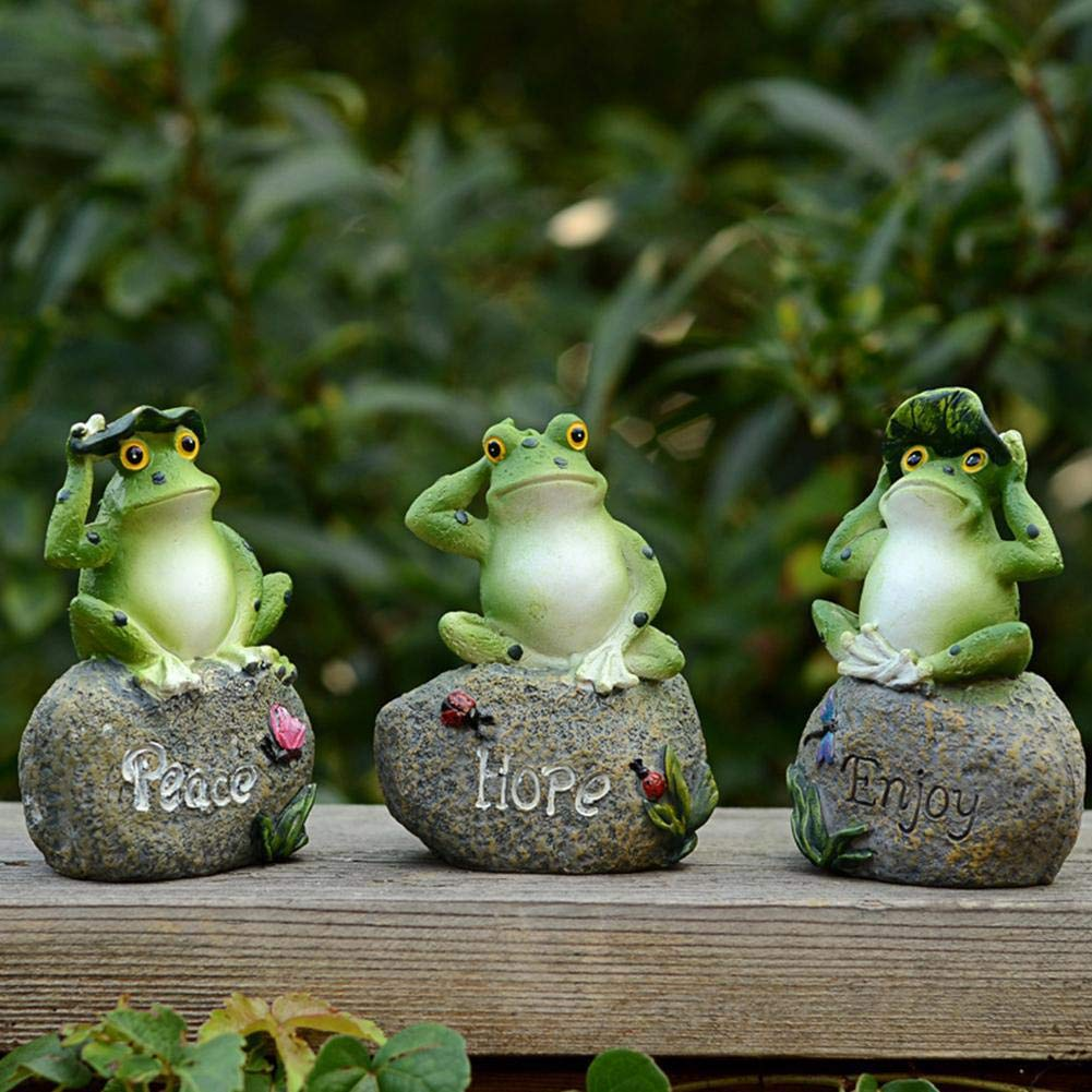 ZHIXX MALL Frog on Stone Garden Decoration Animals, Resin Frog Garden  Ornaments Home Decor-9 x 9 x 9 cm, Random Colour,9 pcs