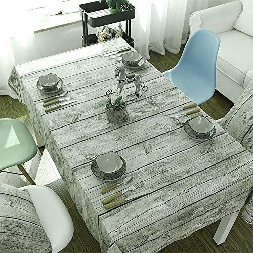 Tovaglia - Rettangolare, legno naturale Modello tovaglia, panno morbido Sfondo Fotografia Cotone Lino in Family, hotel, bar, ristorante (140*180cm)