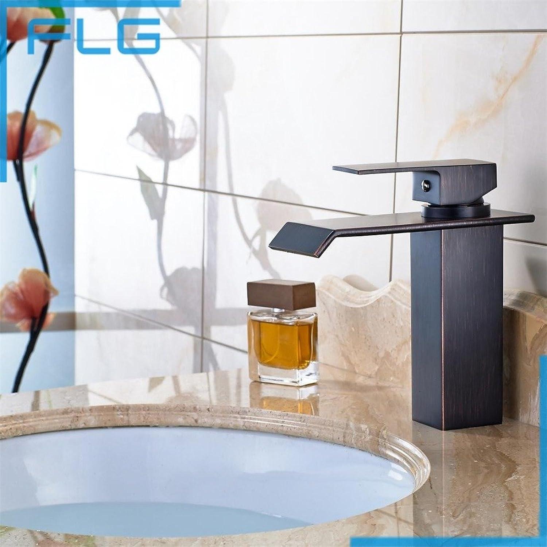 Maifeini Schwarz Wasserfall Waschtischmischer, Bder, Bronze Kupfer Massiv Waschtisch Armatur Square Auslauf Wasserfall Klicken Sie Auf Mischpult