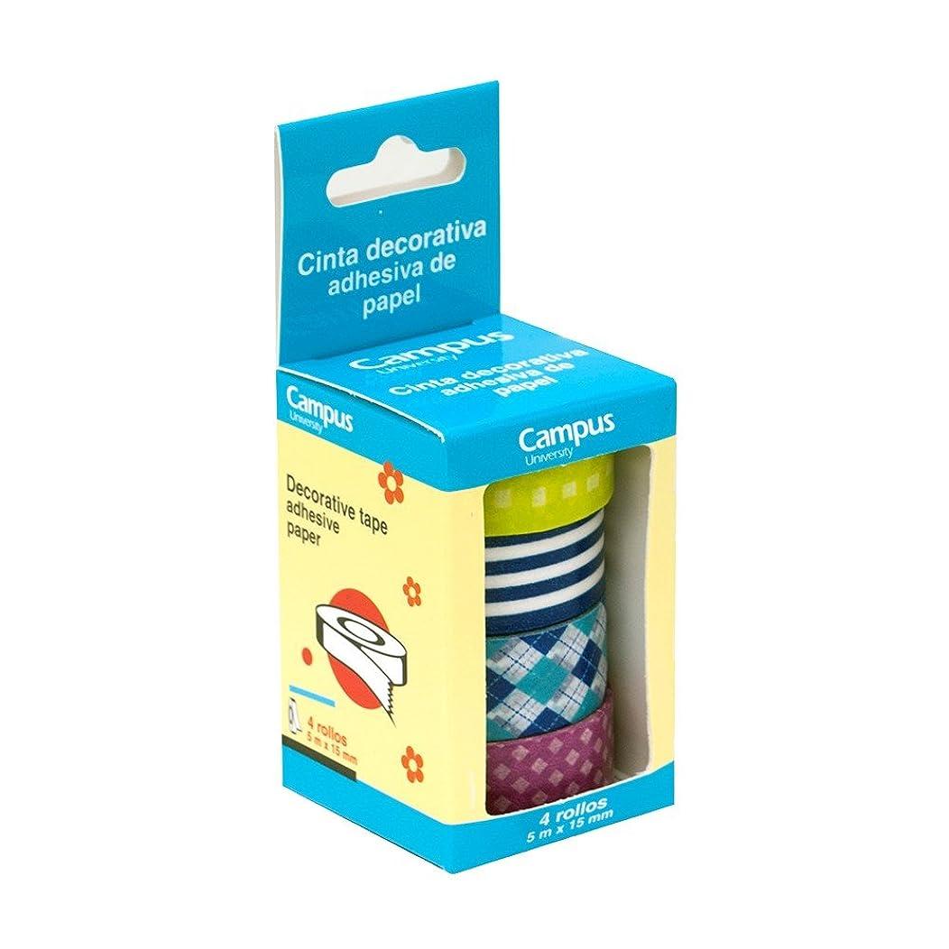 Makro Paper Washi Tape Masking Tape, Set of 4, Assorted Designs
