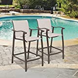 Crestlive Products Outdoor Counter Height Bar Stools Set of 2 Classic Patio Furniture Bar Chairs with Heavy Duty Aluminum Frame in Antique Brown Finish (Beige)