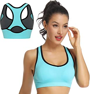 WOWENY Racerback Sports Bras for Women High Impact Gym Yoga Running Workout Activewear Padded Wirefree Tops