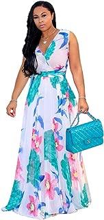 Nuofengkudu Womens Stylish Chiffon V-Neck Printed Floral Maxi Dress with Waisted Belt Plus Size (FBA)