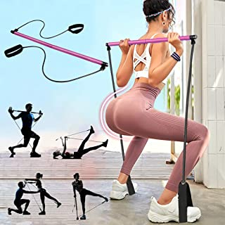 PLEASION Pilates Exercise Resistance Band, Yoga Pilates Bar Reformer Kit, Portable Pilates Stick Fitness Bar, Home Gym Pil...