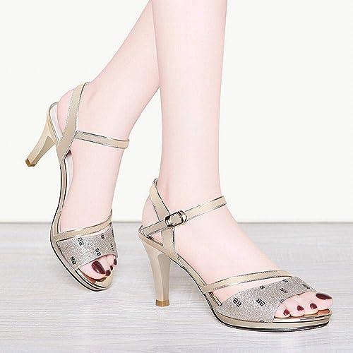 LTN LTN Ltd - sandals Poisson Bouche Chaussures à Talons Hauts avec des Sandales Femme Fée Vent été Chaussures à Semelle épaisse Mode été Chaussures pour Femmes, Or, 40  la qualité d'abord les consommateurs d'abord