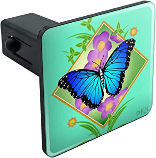 Graphics and More Blue Butterfly Purple Flowers Tow Trailer Hitch Cover Plug Insert 1 1/4 inch (1.25