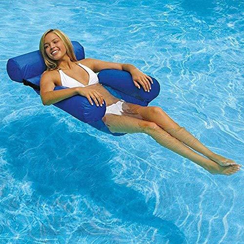S-Chihir Aufblasbare Wasser Hängematte, Klappbarer Aufblasbares Schwimmbett,4-in-1 Pool Float Lounge Chair Sitz Mit Rückenlehne Pool aufblasbare hängematte für Erwachsene und Kinder(Dunkelblau)
