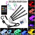 Car LED Strip Light for Cars,36 LED Car Interior Lights 12V Multicolor RGB Interior Car Atmosphere Neon Lights Under Dash Lighting Kit with Music Sounds Activated Wireless Remote Control (12V,36 Leds)