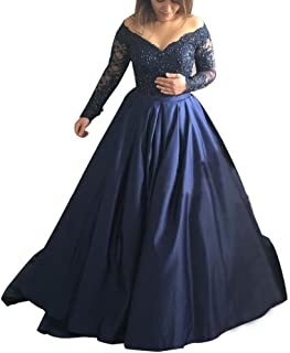 8aa6f48a79 Abaowedding Women s Long Evening Dress Lace Sleeve V Neck Ball Prom Gowns