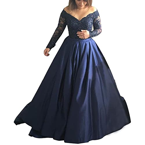 Abaowedding Women s Long Evening Dress Lace Sleeve V Neck Ball Prom Gowns f7ae9a820dab