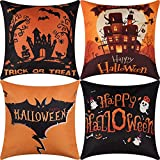 SLLPL Halloween Throw Pillow Covers, Set of 4 Scary Night Trick or Treat Cushion Case, Cotton Linen Bat Moon Castle Pillowcase for Sofa, Couch, Car, 18 x 18 In Happy Halloween Cushion Cover Home Decor