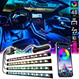 CK Formula Interior Car Lights, LED Light Strips for Cars, 16 Million RGB Colors, Bluetooth App Control, Music Sync Under Lighting Dashboard, Waterproof IP68 Rating, 12V DC Charger, 4pcs