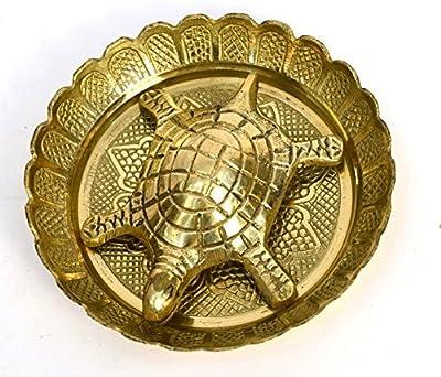 BHARAT HAAT Brass Feng Shui Small Tortoise with Plate Handicraft Fine Art