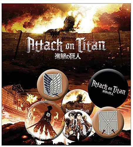Close Up Set de 6 Boutons Attack on Titan Personnages et Logos