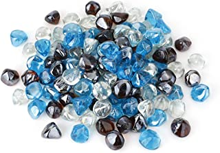 Stanbroil 10-Pound 1/2 Fire Glass Diamonds Blended Caribbean Blue,Crystal Ice,Amber Luster for Indoor and Outdoor Gas Fire Pits and Fireplaces
