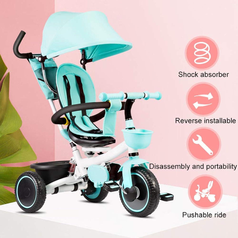 QXMEI 4 In 1 Kinder-Handstodreirad Ab 5 Monate Bis 6 Jahre Drehbarem Sitz Kinder Pedal Dreirad Dreipunkt-Sicherheitsgurte Multifunktional Dreirad Für Kinder Belastbarkeit Bis 50 Kg,Blau